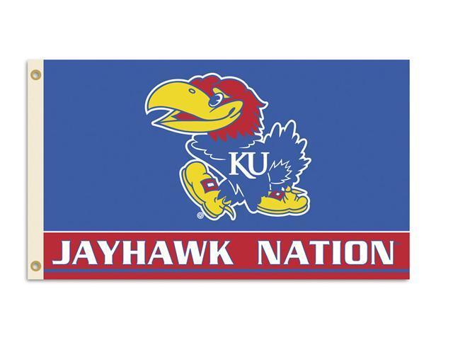 BSI Products 95214 Kansas Jayhawks- 3 ft. X 5 ft. Flag W-Grommets