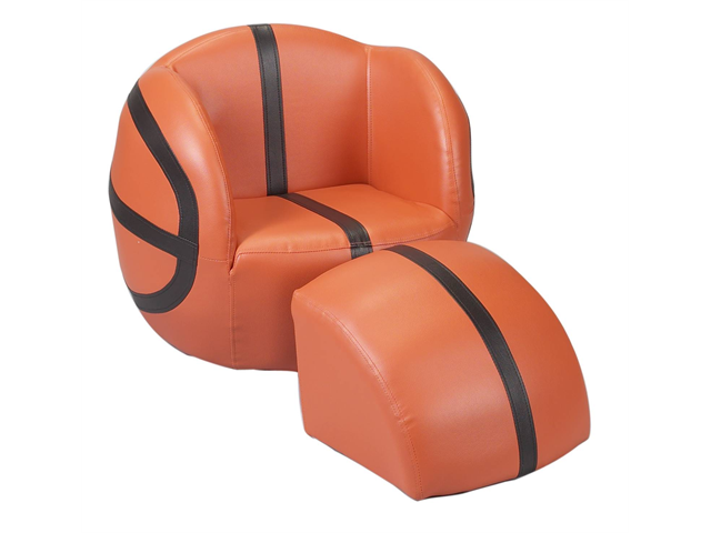 Child's Upholstered Basketball Sports Chair with Ottoman