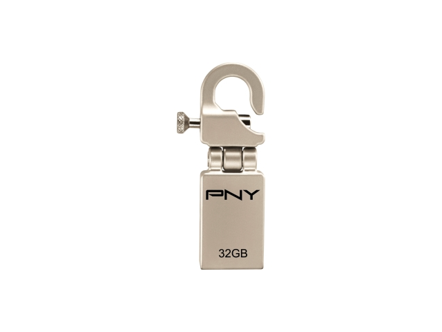 PNY Hook Attach? 32 GB USB 2.0 Flash Drive - Metallic