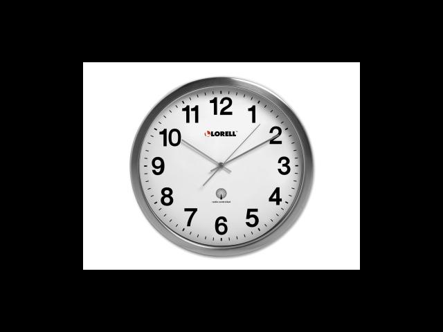 Lorell Brushed Nickel Plated Atomic Wall Clock Digital