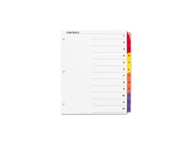 Index Dividers W/Table Of Contents 1-12 12 Tabs/STMulti
