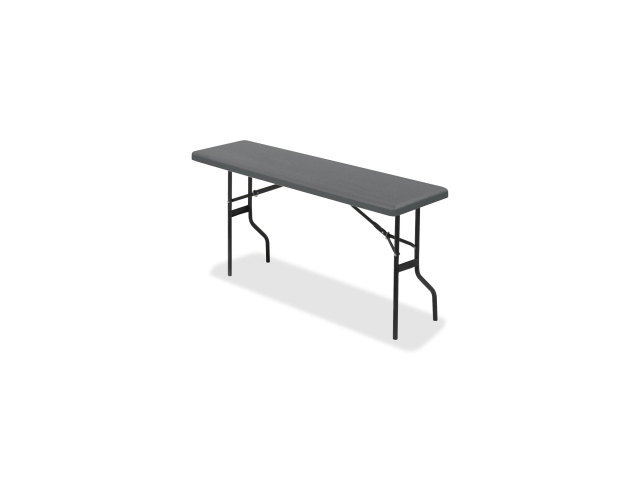 "Iceberg 65367 IndestrucTable TOO 1200 Series Foldlng Table Rectangle - 18"" x 72"" x 29"" - Polyethylene, Steel - Charcoal"