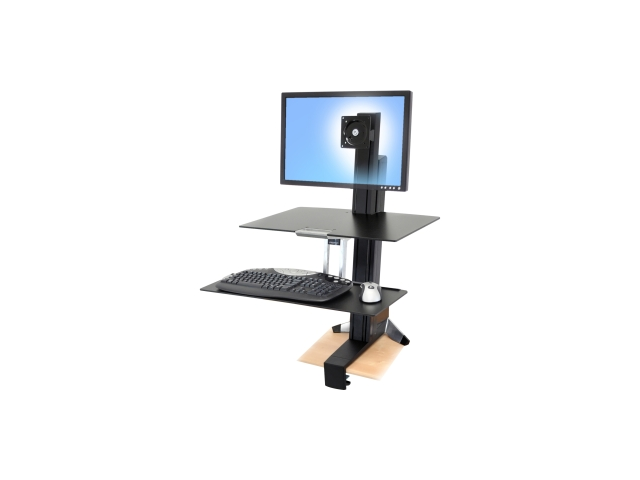 Ergotron 33-351-200 WorkFit-S Sit-Stand Workstation for Mid-Size Monitor, HD, w/ Worksurface and Large Keyboard Tray (black and polished aluminum)