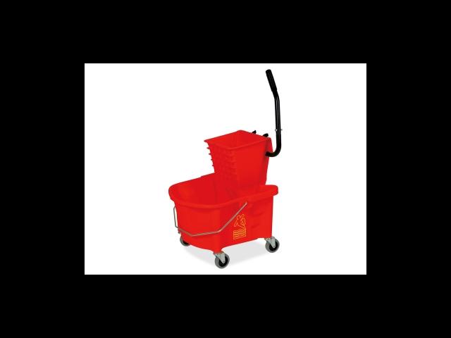 Mop Bucket/Wringer Combo Splash Guard 26qt. Red