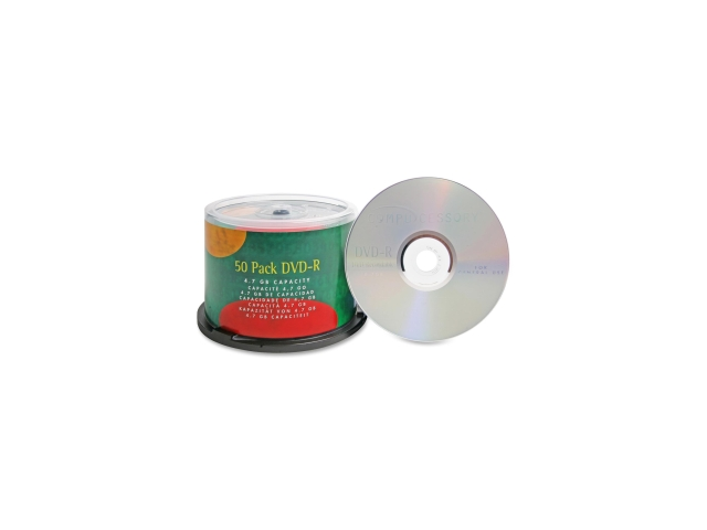 Compucessory DVD Recordable Media - DVD-R - 16x - 4.70 GB - 50 Pack 50 EA/PK