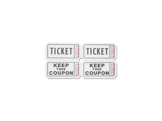 Ticket Roll Double w/Coupon 2000/RL White