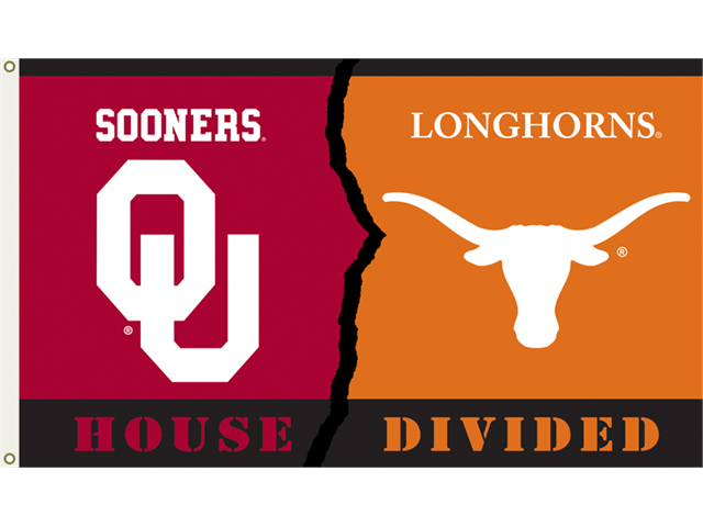 Oklahoma - Texas 3 Ft. X 5 Ft. Flag W/Grommets - Rivalry House Divided