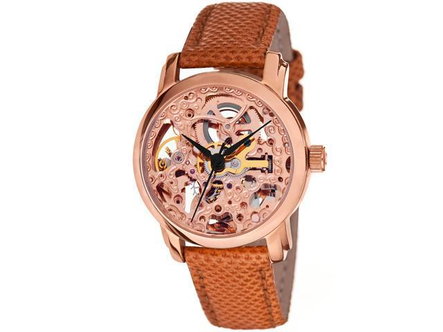 Akribos XXIV Women's Skeleton Automatic Strap Watch