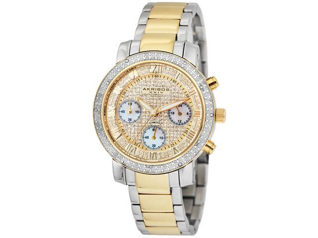 Akribos XXIV Women's Diamond Quartz Chronograph Bracelet Watch