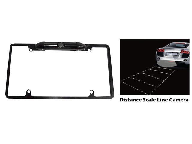 Pyle - Low Lux Rear Camera Black Chrome Metal Lisence Plate Frame