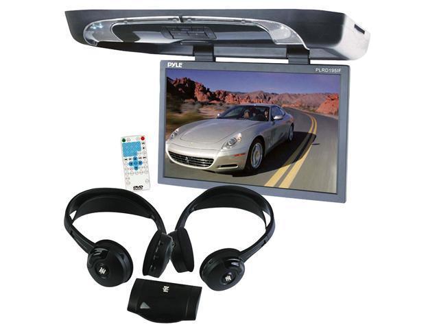 Pyle - 19'' Flip Down w/ Built In DVD/SD/USB Player w/ Wireless FM/ Modulator & IR Transmitter + Dual Wireless IR Mobile Video Stereo Headphones w/Transmitter