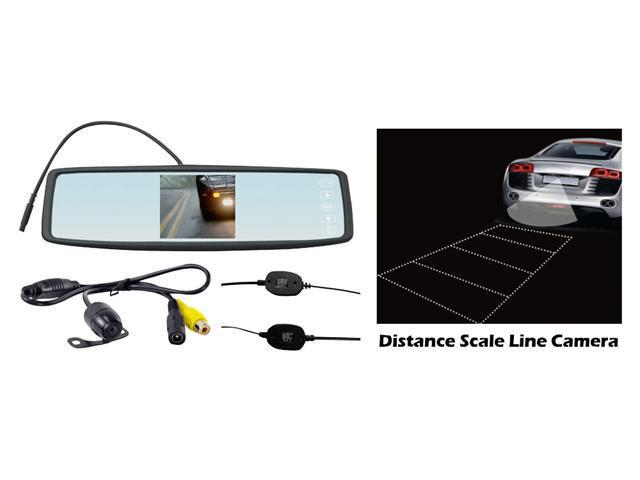 Pyle - Rearview Mirror Wireless Back-Up Camera System w/ 4.3'' TFT Touch Screen & Universal Mount Low Lux Camera w/ Distance ...