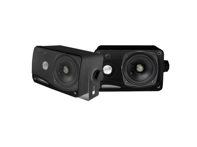 Pyle - 3.5'' 200 Watt 3-Way Weather Proof Marine Mini Box Speaker System (Black)