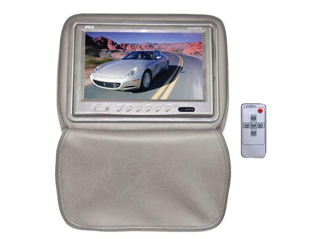 Pyle - Adjustable Headrests w/ Built-In 9'' TFT/LCD Monitor W/IR Transmitter & Cover (Tan) (Refurbished)