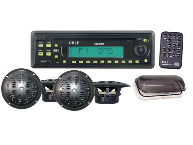 Pyle - Waterproof Marine AM/FM/CD Player Receiver W/ 4 X 5.25'' Speakers & Splash Proof Radio Cover (Black) (Refurbished)