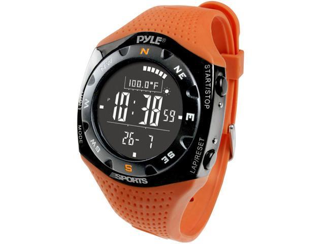 Pyle - Ski Master V Professional Ski Watch w/ Max. 20 Ski Logbook, Weather Forecast, Altimeter, Barometer, Digital Compass,Thermometer (Orange Color)