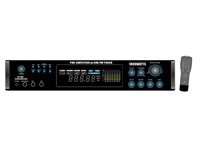 PyleHome - 1000 Watts AM/FM/ Tuner Hybrid Amplifier W/ 70V Output w/Built In Auto Mute Function And Music On Hold Output ...