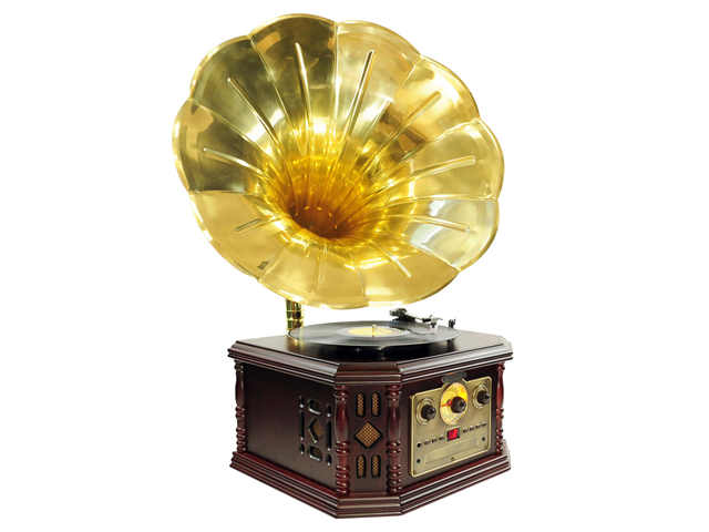 PYLE-HOME PVNP4CD Vintage Phonograph Horn Turntable with CD, Cassette, AM/FM, Au