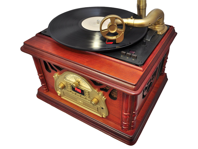 PyleHome - Classical Trumpet Horn Turntable/Phonograph with AM/FM Radio CD/Cassette/USB Players & Direct to USB Recording