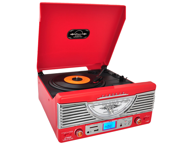 PyleHome - Retro-Style Turntable - Plays Radio, MP3s via USB & SD Memory with Vinyl-to-MP3 Encoding (Red)