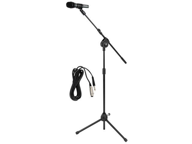 Microphone and Tripod Stand With Extending Boom & Mic Cable Package