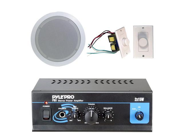 Pyle - Pyle Home Popular Amplifier/Speaker Package -- Mini 2 x 15-Watt Stereo Power Amplifier + 5.25-Inch 2-Way In-Ceiling ...