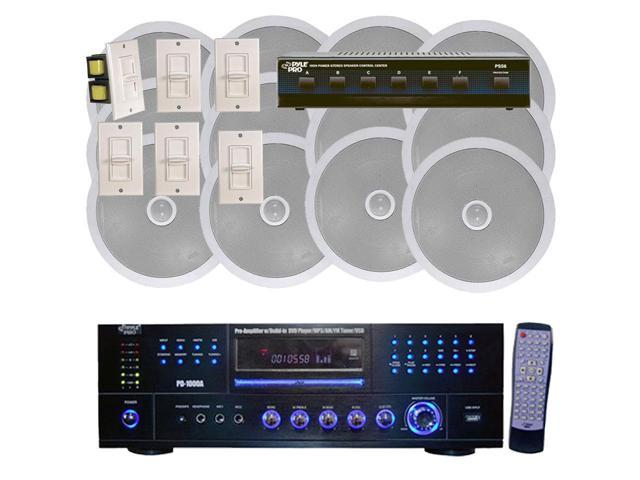 Pyle - 1000 Watt 6 Channel In-Ceiling Speaker System With w/Built-in DVD/MP3/USB & Wall Mount Volume Control