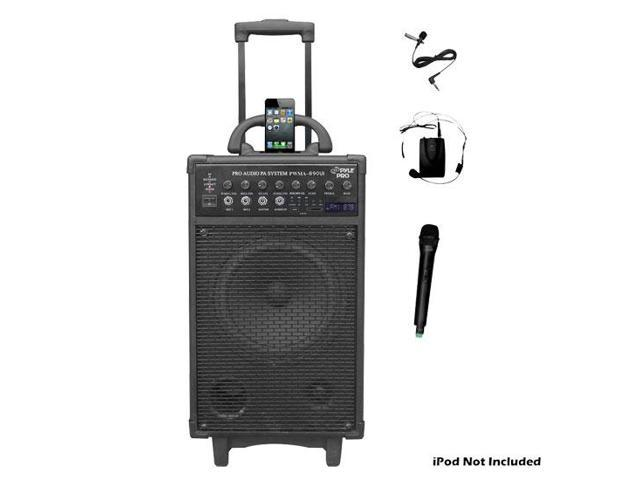 500 Watt Dual Channel Wireless Rechageable Portable PA System With iPod/iPhone Dock, FM/USB/SD, Handheld Microphone, and Lavalier Microphone