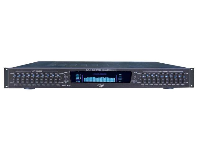 PylePro - 19'' Rack Mount Dual 10 Band 4 Source Input Stereo Spectrum Graphic Equalizer