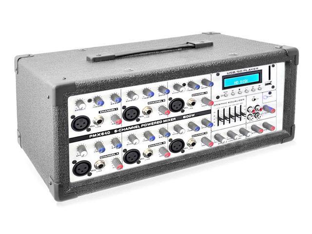 Pyle 6-Channel 600 Watt Bluetooth Mixer with Balanced Mic & Line Inputs, USB & SD Card Readers
