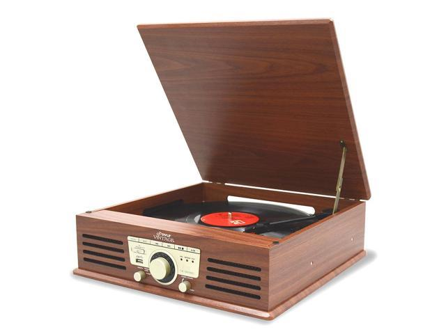 PYLE HOME PTT25UBT Classic Vintage 3-Speed Turntable & Radio with Bluetooth(R)