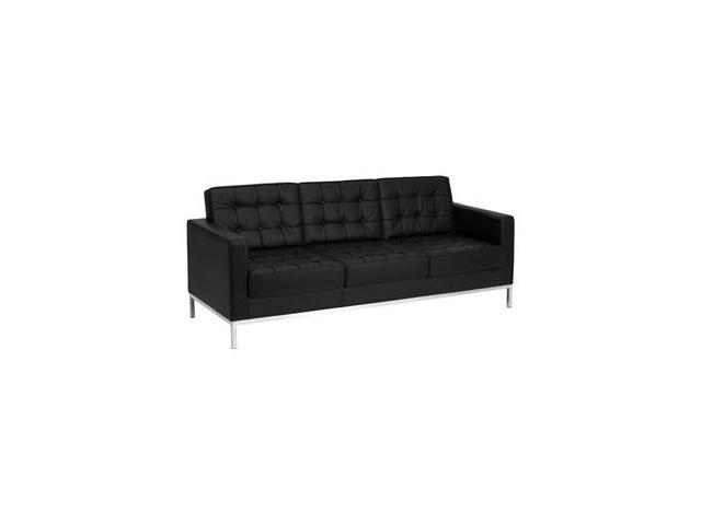 Lacey Series Black Leather Sofa with Stainless Steel Frame by Flash Furniture