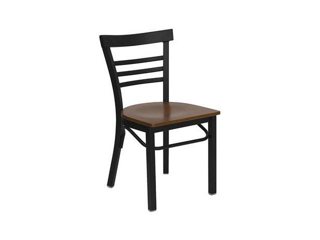 Flash Furniture HERCULES Series Black Ladder Back Metal Restaurant Chair with Cherry Wood Seat [XU-DG6Q6B1LAD-CHYW-GG]