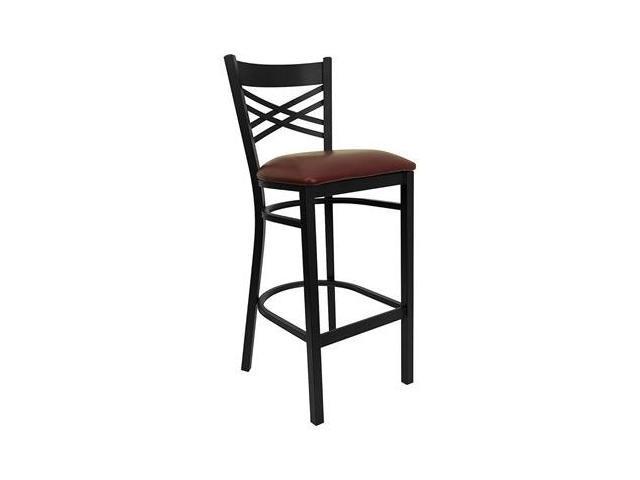 Flash Furniture HERCULES Series Black ''X'' Back Metal Restaurant Bar Stool with Burgundy Vinyl Seat [XU-6F8BXBK-BAR-BURV-GG]