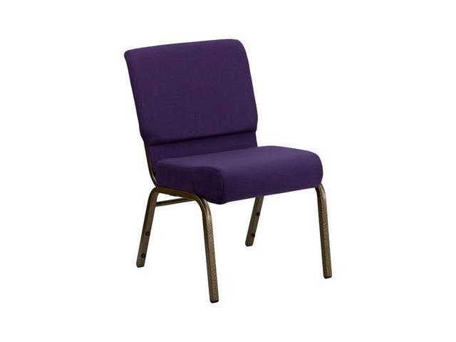 Flash Furniture HERCULES Series 21'' Extra Wide Royal Purple Stacking Church Chair with 4'' Thick Seat - Gold Vein Frame [FD-CH0221-4-GV-ROY-GG]