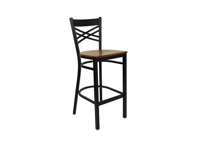 Flash Furniture HERCULES Series Black ''X'' Back Metal Restaurant Bar Stool with Cherry Wood Seat [XU-6F8BXBK-BAR-CHYW-GG]