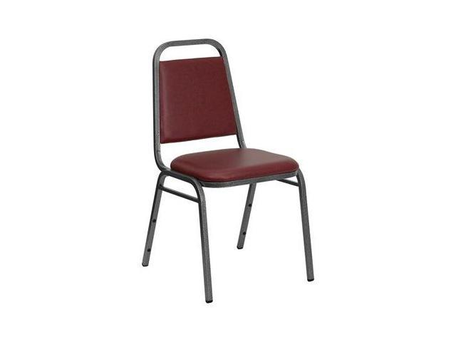 Flash Furniture HERCULES Series Trapezoidal Back Stacking Banquet Chair with Burgundy Vinyl and 1.5'' Thick Seat - Silver Vein Frame [FD-BHF-2-BY-VYL-GG]