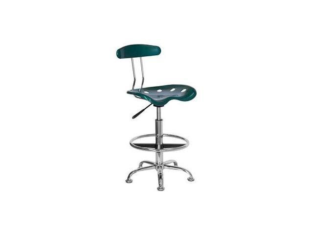 Flash Furniture Vibrant Green and Chrome Drafting Stool with Tractor Seat [LF-215-GREEN-GG]