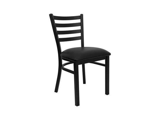 Flash Furniture HERCULES Series Black Ladder Back Metal Restaurant Chair with Black Vinyl Seat [XU-DG694BLAD-BLKV-GG]