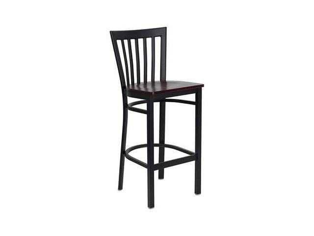Flash Furniture HERCULES Series Black School House Back Metal Restaurant Bar Stool with Mahogany Wood Seat [XU-DG6R8BSCH-BAR-MAHW-GG]
