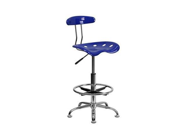 Flash Furniture Vibrant Nautical Blue and Chrome Drafting Stool with Tractor Seat [LF-215-NAUTICALBLUE-GG]