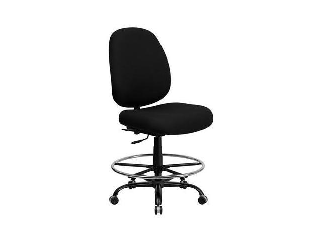 Flash Furniture HERCULES Series 400 lb. Capacity Big and Tall Black Fabric Drafting Stool with Extra WIDE Seat [WL-715MG-BK-D-GG]