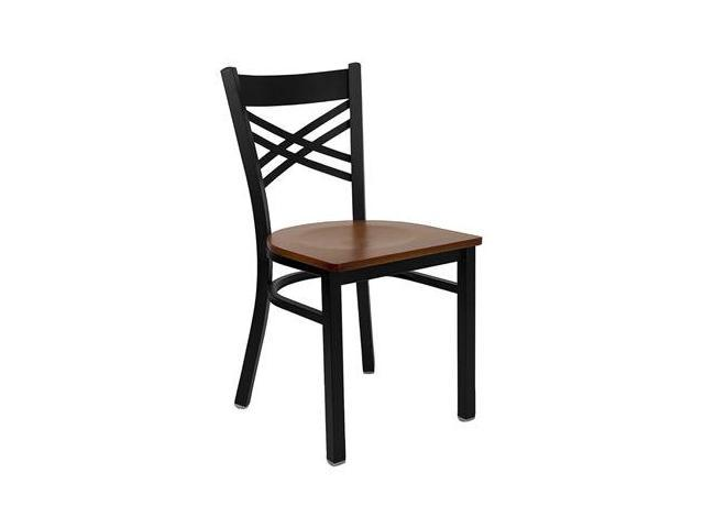 Flash Furniture HERCULES Series Black ''X'' Back Metal Restaurant Chair with Cherry Wood Seat [XU-6FOBXBK-CHYW-GG]
