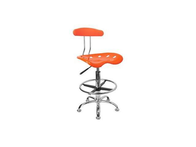 Flash Furniture Vibrant Orange and Chrome Drafting Stool with Tractor Seat [LF-215-ORANGEYELLOW-GG]