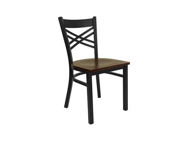 Flash Furniture HERCULES Series Black ''X'' Back Metal Restaurant Chair with Mahogany Wood Seat [XU-6FOBXBK-MAHW-GG]