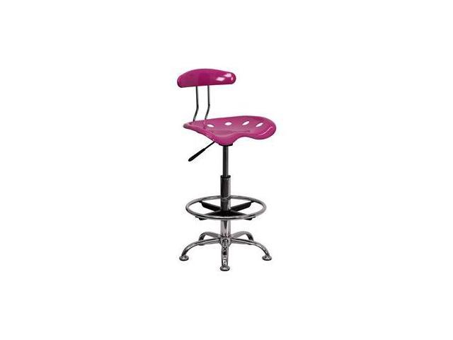 Flash Furniture Vibrant Pink and Chrome Drafting Stool with Tractor Seat [LF-215-PINK-GG]