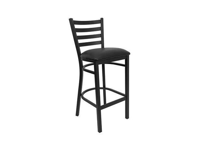 Flash Furniture HERCULES Series Black Ladder Back Metal Restaurant Bar Stool with Black Vinyl Seat [XU-DG697BLAD-BAR-BLKV-GG]
