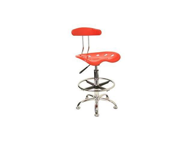 Flash Furniture Vibrant Red and Chrome Drafting Stool with Tractor Seat [LF-215-RED-GG]