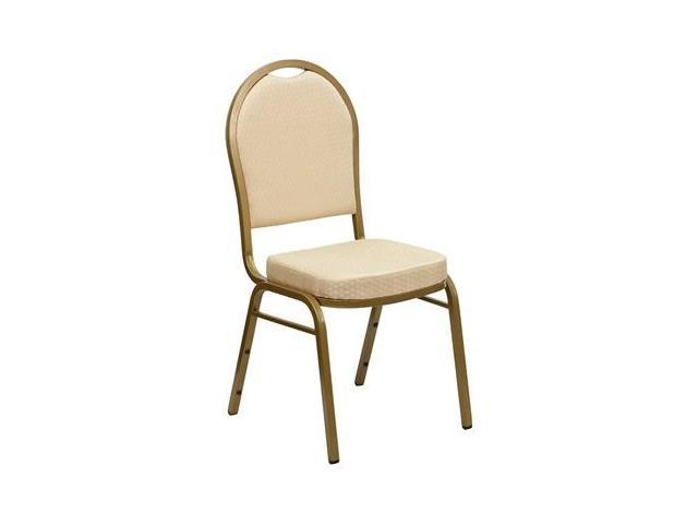 Flash Furniture HERCULES Series Dome Back Stacking Banquet Chair with Beige Patterned Fabric and 2.5'' Thick Seat - Gold Frame [FD-C03-ALLGOLD-H20124E-GG]