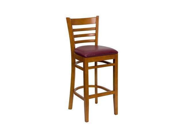 Flash Furniture HERCULES Series Cherry Finished Ladder Back Wooden Restaurant Bar Stool with Burgundy Vinyl Seat [XU-DGW0005BARLAD-CHY-BURV-GG]